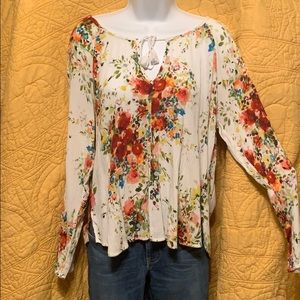 Multi colored flower print blouse